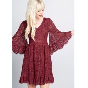 ModCloth Bell Sleeve Lace Dress In Burgundy